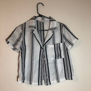 Forever 21 striped button up crop